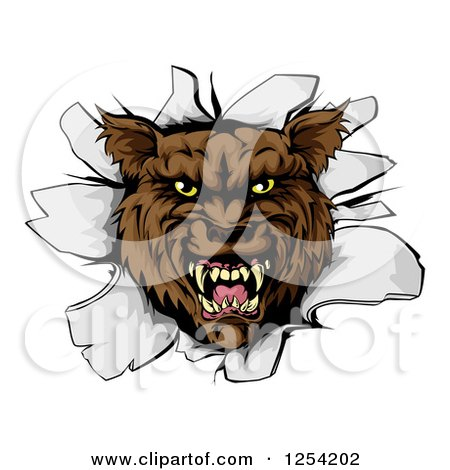 Clipart of a Ferocious Wolf Breaking Through a Wall - Royalty Free Vector Illustration by AtStockIllustration