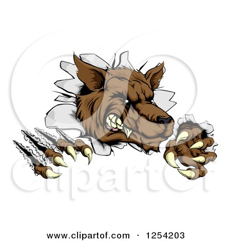 Clipart of a Ferocious Wolf Scratching and Breaking Through a Wall - Royalty Free Vector Illustration by AtStockIllustration