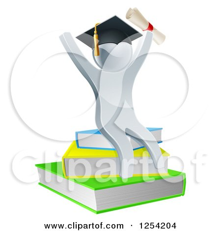 Clipart of a 3d Silver Person Graduate Cheering with a Diploma and Sitting on a Stack of Books - Royalty Free Vector Illustration by AtStockIllustration