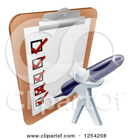 Clipart of a 3d Silver Man Checking off a List with a Pen on a Giant Clipboard - Royalty Free Vector Illustration by AtStockIllustration