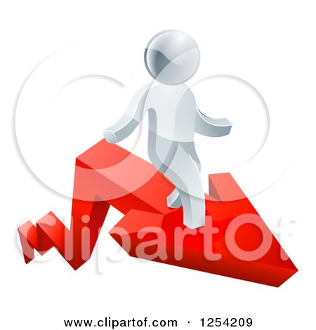 Clipart of a 3d Successful Silver Man Standing on a Red Arrow - Royalty Free Vector Illustration by AtStockIllustration