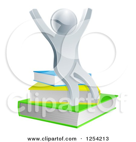 Clipart of a 3d Cheering Silver Man Sitting on Books - Royalty Free Vector Illustration by AtStockIllustration
