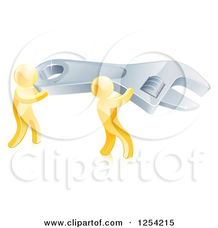 Clipart of 3d Gold Men Carrying a Giant Spanner Wrench - Royalty Free Vector Illustration by AtStockIllustration