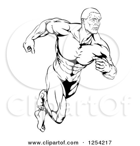 Clipart of a Black and White Running Muscular Man - Royalty Free Vector Illustration by AtStockIllustration