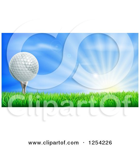 Clipart Of A 3d Golf Ball On A Tee Over A Sunrise Royalty Free Vector Illustration