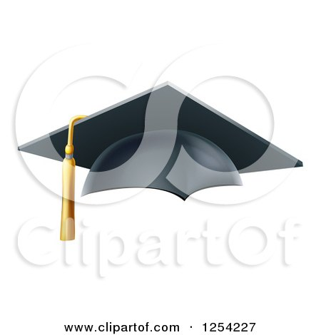 Clipart of a 3d Mortar Board Graduation Cap - Royalty Free Vector Illustration by AtStockIllustration