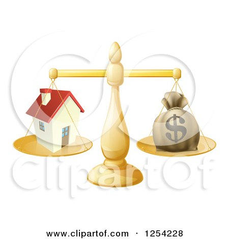 Clipart of a 3d Scale Comparing a Dollar Money Bag and a House - Royalty Free Vector Illustration by AtStockIllustration