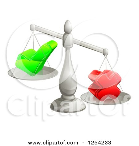 Clipart of 3d Silver Scales Weighing a Decision Check Mark and X Cross - Royalty Free Vector Illustration by AtStockIllustration