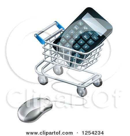 Clipart of a 3d Computer Mouse Connected to a Shopping Cart with a Calculator - Royalty Free Vector Illustration by AtStockIllustration
