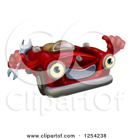 Clipart of a Happy Red Car Character Mechanic Holding a Wrench and Thumb up - Royalty Free Vector Illustration by AtStockIllustration