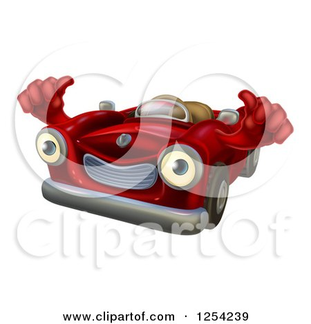 Clipart of a Happy Red Car Character Holding Thumbs up - Royalty Free Vector Illustration by AtStockIllustration