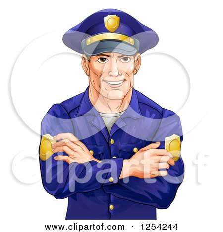 Clipart Of A Handsome Caucasian Male Police Officer With Folded Arms Royalty Free Vector Illustration