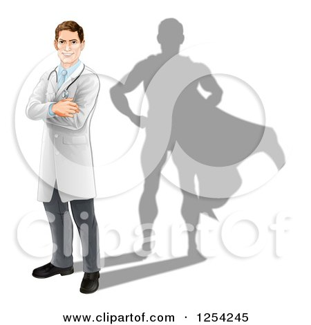 Clipart of a Caucasian Male Doctor with a Super Hero Shadow - Royalty Free Vector Illustration by AtStockIllustration