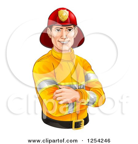 Clipart of a Handsome Caucasian Male Fireman with Folded Arms - Royalty Free Vector Illustration by AtStockIllustration