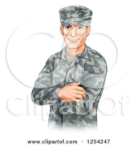 Clipart of a Handsome Caucasian Male Soldier with Folded Arms - Royalty Free Vector Illustration by AtStockIllustration