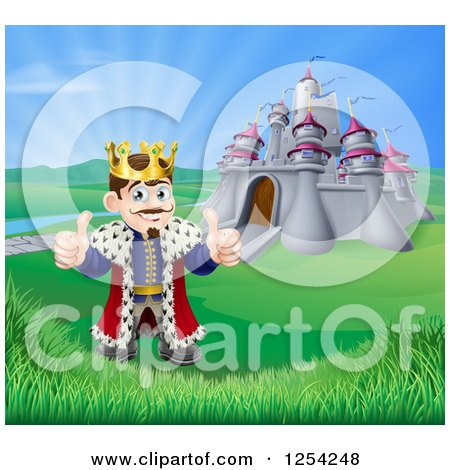 Clipart of a Happy King Holding Two Thumbs up in Front of His Castle - Royalty Free Vector Illustration by AtStockIllustration