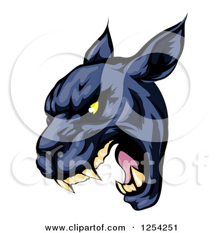 Clipart of a Roaring Black Panther Mascot Head - Royalty Free Vector Illustration by AtStockIllustration