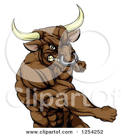 Clipart of a Punching Muscular Bull Man Mascot - Royalty Free Vector Illustration by AtStockIllustration