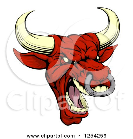 Clipart Of A Mad Red Bull With A Nose Ring Royalty Free Vector Illustration