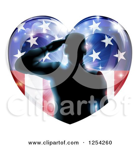 Clipart of a Silhouetted Military Veteran Saluting over an American Flag Heart and Bursts - Royalty Free Vector Illustration by AtStockIllustration