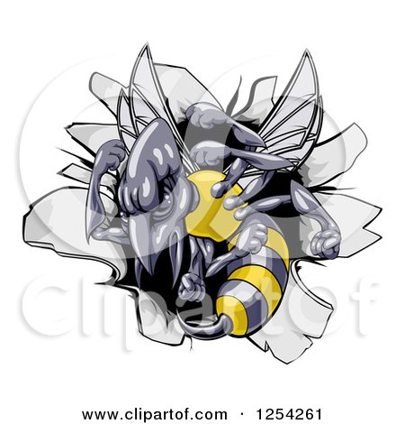 Clipart of a Tough Wasp over a Hole in a Wall - Royalty Free Vector Illustration by AtStockIllustration