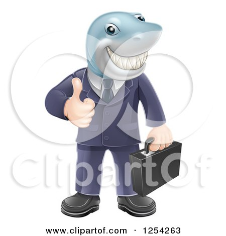 Clipart of a Shark Businessman Grinning and Holding a Thumb up - Royalty Free Vector Illustration by AtStockIllustration