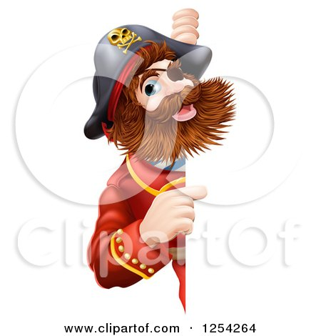 Clipart Of A Bearded Pirate Captain Pointing Around A Sign Royalty Free Vector Illustration