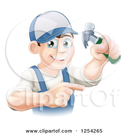 Clipart of a Happy Brunette Caucasian Worker Man Holding a Hammer and Pointing - Royalty Free Vector Illustration by AtStockIllustration