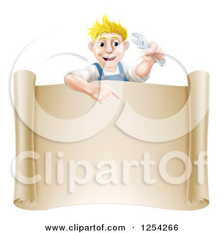 Clipart of a Happy Blond Mechanic Man Holding a Wrench over a Scroll Sign - Royalty Free Vector Illustration by AtStockIllustration