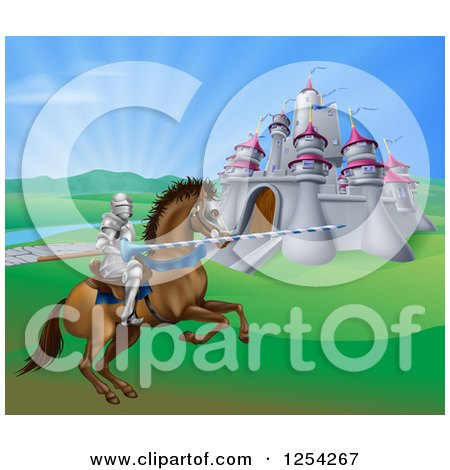 Clipart of a Horseback Jousting Knight and Castle - Royalty Free Vector Illustration by AtStockIllustration
