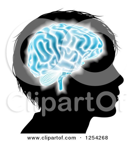 Clipart of a Silhouetted Boys Head with a Glowing Blue Brain - Royalty Free Vector Illustration by AtStockIllustration
