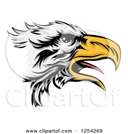 Clipart of a Squaking Bald Eagle Head in Profile - Royalty Free Vector Illustration by AtStockIllustration