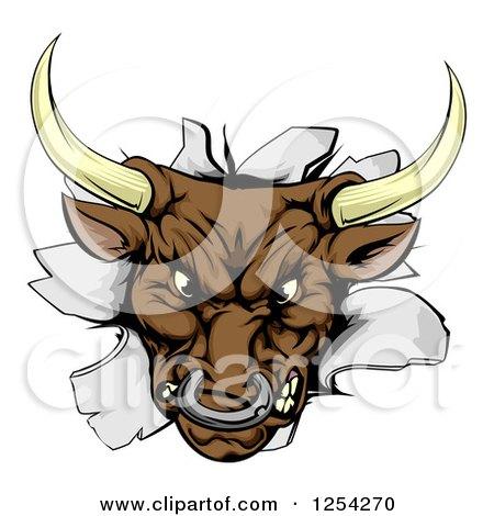 Aggressive Bull Breaking Through a Wall Posters, Art Prints