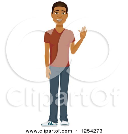Clipart of a Casual Handsome Young Black Man Waving - Royalty Free Vector Illustration by Amanda Kate