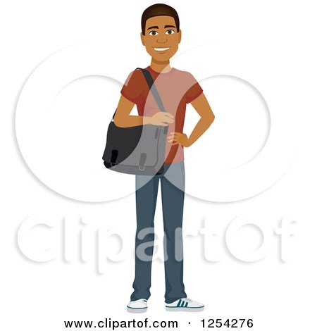 Clipart of a Casual Handsome Young Black Man Carrying a Laptop Bag - Royalty Free Vector Illustration by Amanda Kate