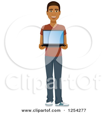 Clipart of a Casual Handsome Young Black Man Holding a Laptop Computer - Royalty Free Vector Illustration by Amanda Kate