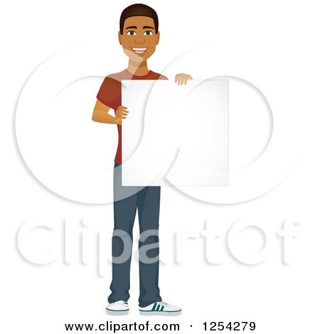 Clipart of a Casual Handsome Young Black Man Holding a Tablet Computer - Royalty Free Vector Illustration by Amanda Kate