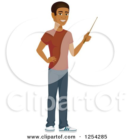 Clipart of a Casual Handsome Young Black Man Using a Pointer Stick - Royalty Free Vector Illustration by Amanda Kate