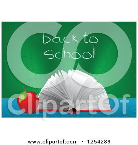 Clipart of an Open Book and Apple with Back to School Written on a Chalk Board - Royalty Free Vector Illustration by Pushkin