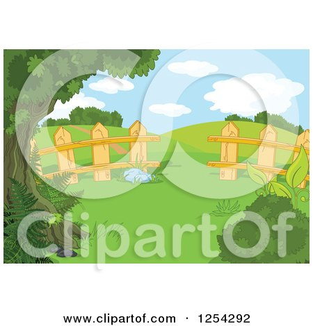 Clipart of a Fence and Hilly Rural Landscape Backdrop - Royalty Free Vector Illustration by Pushkin