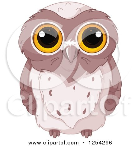 Clipart of a Cute Brown Owl with Big Yellow Eyes - Royalty Free Vector Illustration by Pushkin