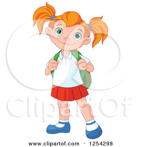 Clipart of a Happy Caucasian School Girl - Royalty Free Vector Illustration by Pushkin