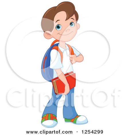 Clipart of a Happy Caucasian School Boy - Royalty Free Vector Illustration by Pushkin