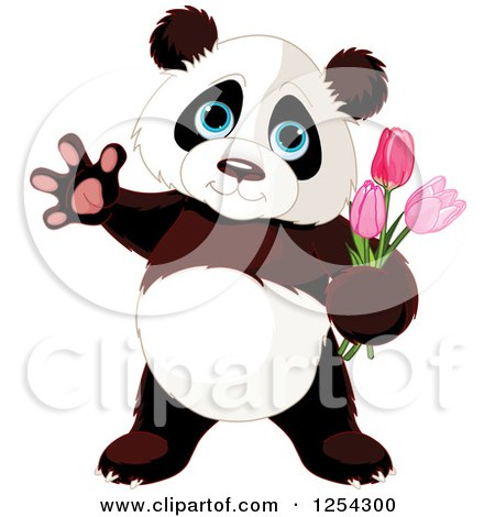 Clipart of a Cute Panda Bear Waving and Holding Tulip Flowers - Royalty Free Vector Illustration by Pushkin