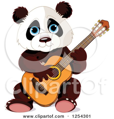 Clipart of a Cute Panda Bear Playing a Guitar - Royalty Free Vector Illustration by Pushkin