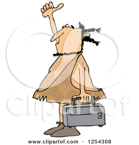 Clipart of a Hitchhiking Caveman Holding Luggage - Royalty Free Vector Illustration by djart