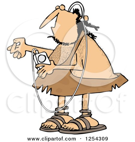 Clipart of a Caveman Listening to Music on an Mp3 Player - Royalty Free Vector Illustration by djart