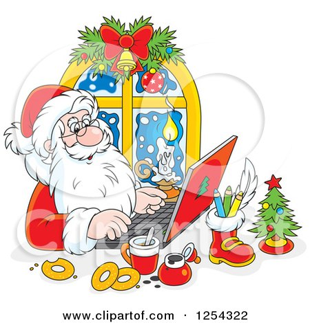 Clipart of Santa Responding to Christmas Emails on a Laptop - Royalty Free Vector Illustration by Alex Bannykh
