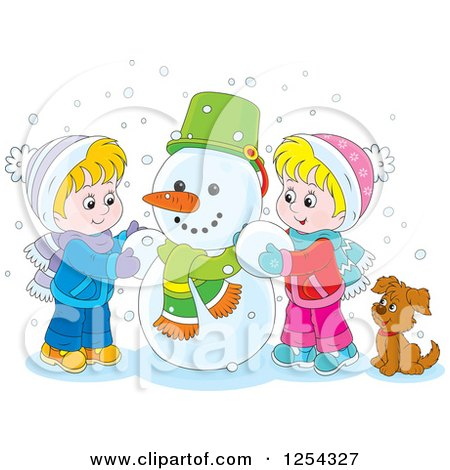 Clipart of Blond Caucasian Children Making a Snowman - Royalty Free Vector Illustration by Alex Bannykh