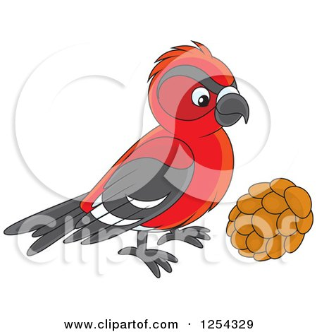 Clipart of a Red Crossbill Bird - Royalty Free Vector Illustration by Alex Bannykh
